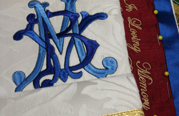 Church Vestments Marian Stole White Stole Christmas Vestments Ecclesiastical Sewing blue silk luther rose brocade embroidery needlework for church christian Lutheran Catholic