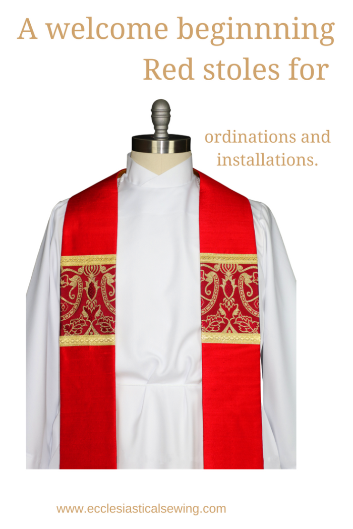 red stoles pastor stoles clergy stoles deacon stoles church vestments latin mass vestments Pentecost stoles