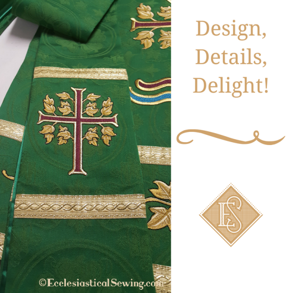 church vestments, cergy stoles, pulpit falls, green vestments, Trinity, Priest clothing