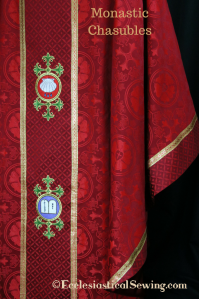 Red chasuble Reformation Lutheran vestments church vestments religious vestments mass vestments brocade liturgical fabrics machine embroidery Luther Rose Brocade