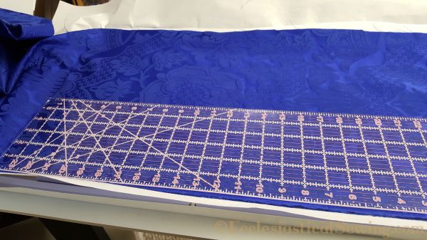 Blue St. Margaret Brocade Liturgical fabric Religious fabric church vestment fabric machine embroidery hoops