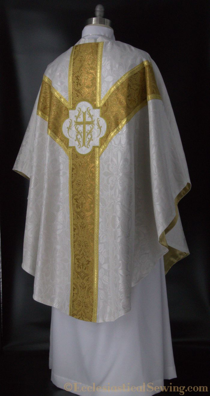 Dayspring Chasuble; White Chasuble for Easter; Festival Chasuble, Christmas Chasuble; White and Gold Chasuble; Lichfield Brocade; Ecclesiastical Sewing