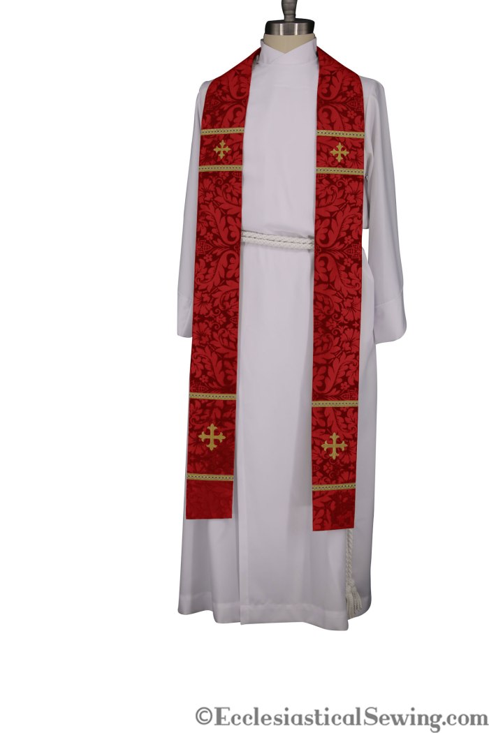 Red ordination Stole for Pastors, Priests, Installation Stole, Clery Stole, Pentecost Stole, Ecclesiatsical Sewing