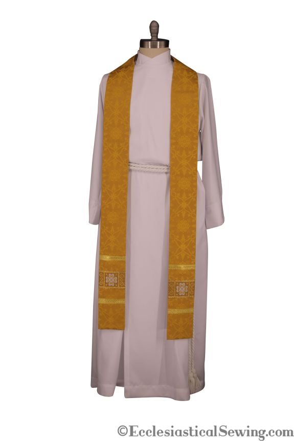 Gold pastor Stole Priest Stole Easter Stole Church Vestment Priest Clothing Ecclesaistical Sewing
