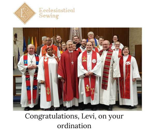 Ordination photo; Pastor ordination stole, Red stole, Reformation stole, Lutheran Stole, Ecdlesiastical Sewing
