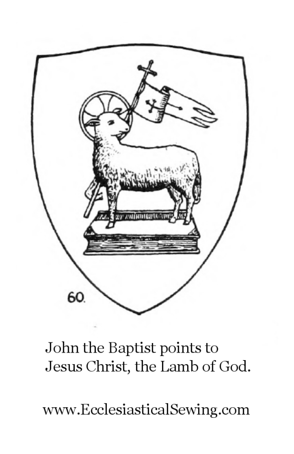 John the Baptist Ecce Agnus Dei Lamb of God, White banner, Ecclesiastical Sewing, nativity fo john the Baptist, Christian Symbols, Church Symbols